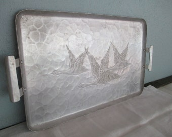 Hammered Aluminum Serving Tray Ducks In Flight With Handles by Gatormom13