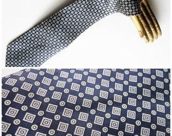 Italian Man's Silk Necktie-  Vintage  Como Navy Gray Conservative