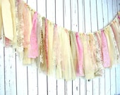 Plush Rag Garland, Swag Bunting Banner in Pinks and Creams, Custom colors available