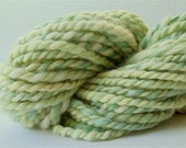 "Hand Dyed Handspun Yarn 40 Yds Alpaca and Wool Bulky Light Green Yellow Doll Hair Knitting Supplies Crochet "" Celery "" (more avail.)"