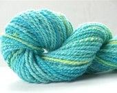 "Handspun Yarn HandDyed Aqua Chunky Bulky Babydoll Southdown Wool 82 Yds (more avail.)Knitting Supplies Crochet Doll Hair 2 Ply "" Parakeet  """