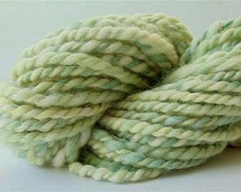 "Hand Dyed Handspun Yarn 40 Yds Alpaca and Wool Bulky Light Green Yellow Doll Hair Knitting Supplies Crochet "" Celery "" (more avail.)"