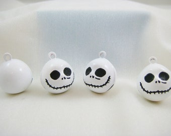 4 Pieces White Halloween Skull Animal Jingle Bell Charms