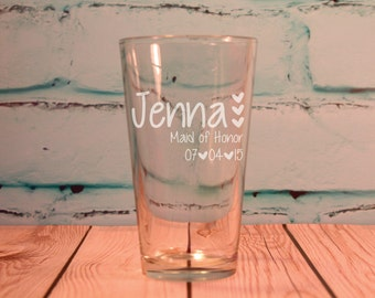 11 Custom Engraved Pint Glasses for Bridesmaids