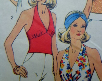70s Halter Top Sewing Pattern Simplicity 6358 Size 10 Bust 32.5 See Description