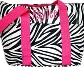 Personalized Insulated Lunch Tote Black & White Zebra Print Pink Trim