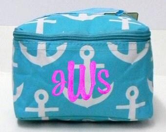 Personalized Cosmetic Case Bag Aqua Anchor Design