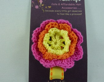 SALE - NEW - Hot pink, Yellow, and Orange Crochet Flower Clip.....99cents