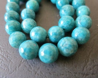 2 str -Jade in Teal Blue Green 10mm Faceted round Beads