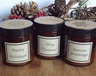 Christmas Favors, 25 Scented Soy Candles, Coworker Gift, Holiday Party Favor, Office Gifts, Personalized Gift, Christmas Party