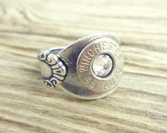 Bullet Ring / Antiqued Silver Plated Spoon Bullet Ring WIN-#-N-SPR / Silver Ring / Silver Bullet Ring / Antique Ring / Winchester Ring