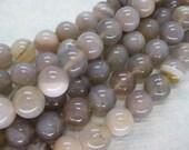 Natural Grey Botswana Agate Smooth Round Gemstone Beads 10mm