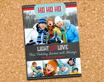 Ho Ho Ho Modern Chalkboard Christmas Photo Card, Chalkboard Holiday Card - DiY Printable, Print Service Available || Ho Ho Ho Chalkboard