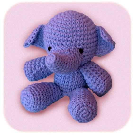 plush elephant crochet stuffed animal in blue cotton yarn
