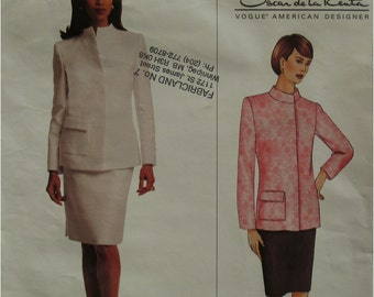 Oscar de la Renta Pattern, Funnel Neck Jacket, Straight Skirt, Hidden Side Closure, Vogue American Designer No. 2663 UNCUT Size 8 10 12