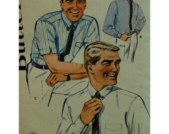 """1960s Mens Shirt Pattern, Button Collar, Short/Long Sleeves, Yoke, Cuffs, Pocket, Butterick No. 2124 UNCUT Size Neck 15.5"""" Chest 40"""""""