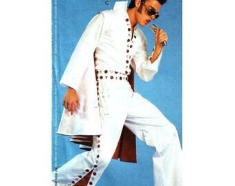 Mens Elvis Costume Pattern, Saturday Night Fever, Hippie Costume, McCalls 2981 Size: Large-XL Chest 38 40 42 44
