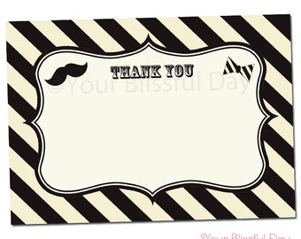 PRINTABLE Mustache Bash Thank You Cards #110