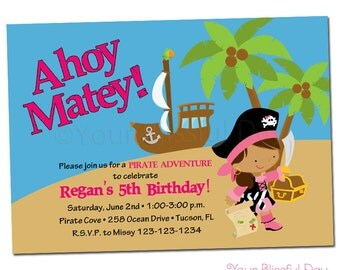 PRINTABLE Girl Pirate Party Invitations (Character of your choice) #569
