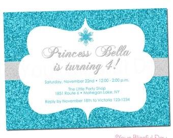 PRINTABLE Sparkly Snowflake Party Invitation #587