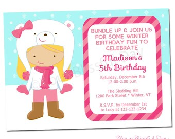 PRINTABLE Girl Winter Fun Party Invitation (Character of your choice) #707