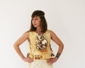 Clearance SALE / Horses Crop Top/ Brown printed shirt/ sleevless shirt/ Summer fashion/ Peasant blouse