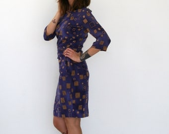 Clearance SALE/ Purple Cocktail dress / midi dress with half sleeve / Bridesmad dress / Party dress