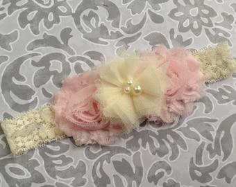 light pink baby headband, pinkshabby and ivory headband, newborn headband, infant headband, toddler headband, girl headband, photo prop