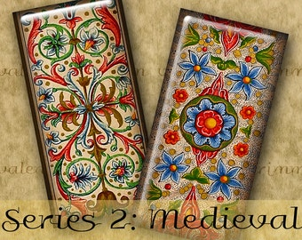 1x2 inch MEDIEVAL ILLUMINATIONS Series No. 2 Digital Printable Domino collage sheet for Jewelry Magnets Crafts