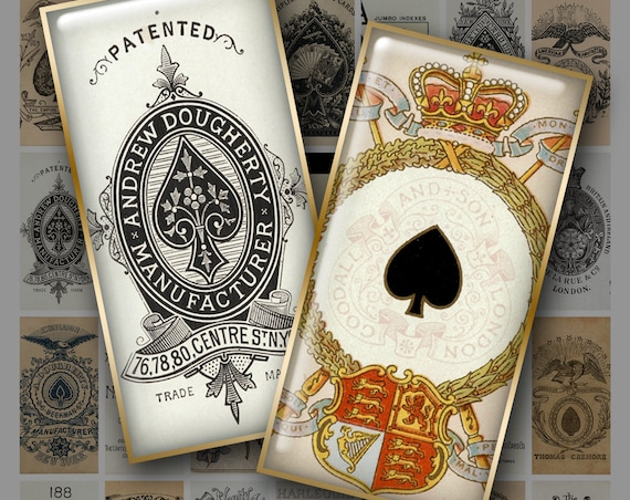 ACE of SPADES 1x2 inch Domino Art - Digital Printable collage sheet for Pendants Magnets Crafts....Playing Cards Death Destiny Gothic