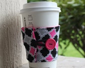 Bright Pink and Black Diamonds - Reusable Coffee Cup Jacket - Coffee Cozy / Sleeve - Cute Teacher Gift - Mother's Day Gift - Unique Gift