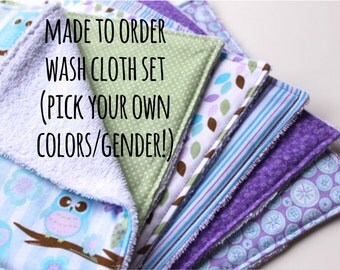 Made to Order Baby Wash Cloth Set - Infant Wash Rags Set of Six - Cotton and Terry Cloth Bath Rags - Baby Bath Accessory - New Baby Gift