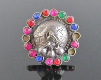 Vintage Large Handmade Ring - Colorful Tribal Ring, Dangling Beads