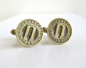 Connecticut Transit Token Cuff Links - Vintage Repurposed Gold Coins