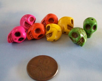 12mm by 10mm Skull Beads Multi Colored Howlite Stone