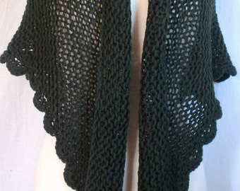 Hand Knit Triangle Shawl, Wrap, Scarf, Lacy Dark Olive. Pure Wool. Classic Style
