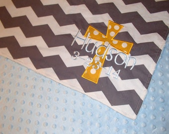 Personalized 30x30 minky blanket with Cross and date