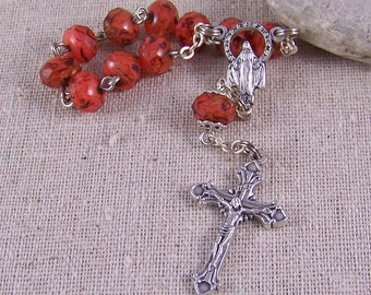 Handmade Catholic pocket rosary or tenner in silver with coral picasso fancy Czech rondelles