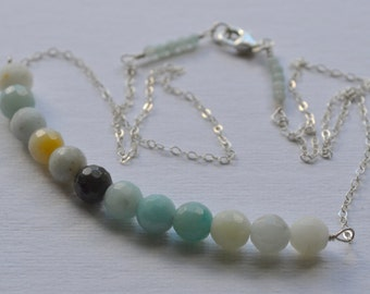 Cloudy Blue Faceted Amazonite Necklace