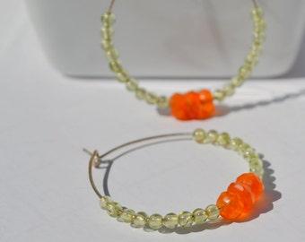 Orange Carnelian and Peridot Hoop Earrings