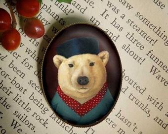 Polar Bear Brooch, Christmas Pin, Chistmas Brooch, Polar Bear Pin, Oval, Stocking Stuffer, Secret Santa Gift, Teacher's Gift, Childrens Gift