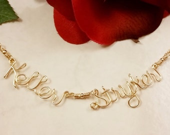 14K Yellow or Rose Gold Filled Two Name Necklace, Wire Two word Necklace