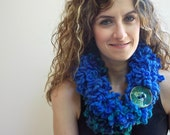 Double Layer scarf, Neck Warmer, Circle scarf, Royal Blue and Sky Blue infinity Scarf with Large Button