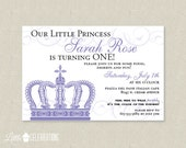 Children's Crown Birthday Party Invitation - Princess Birthday Invitation - Princess Crown Birthday Party Invitations - Kids invitations