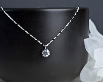 Cubic Zirconia Solitaire Necklace, Tiny Cubic Zirconia Necklace, Round Cubic Zirconia Necklace, Silver Necklace, Modern Minimalist Jewelry