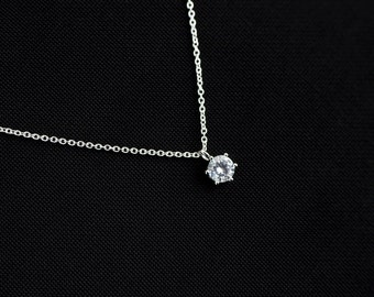 Cubic Zirconia Solitaire Necklace, Rhodium Plated CZ Solitaire Necklace, Modern Minimalist Jewelry, Small CZ Dainty Necklace