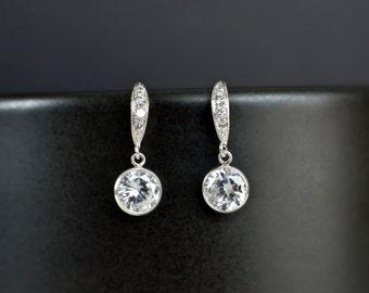 Bridal Earrings, Bridesmaid Earrings Cubic Zirconia Earwires and Cubic Zirconia Crystal Round Bezel Earrings