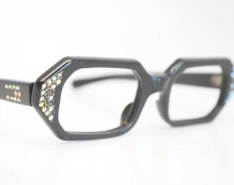 Unused Black Rhinestone Cat Eye Glasses Cateye Frames Vintage Eyewear 1960s Eyeglasses New Old Stock