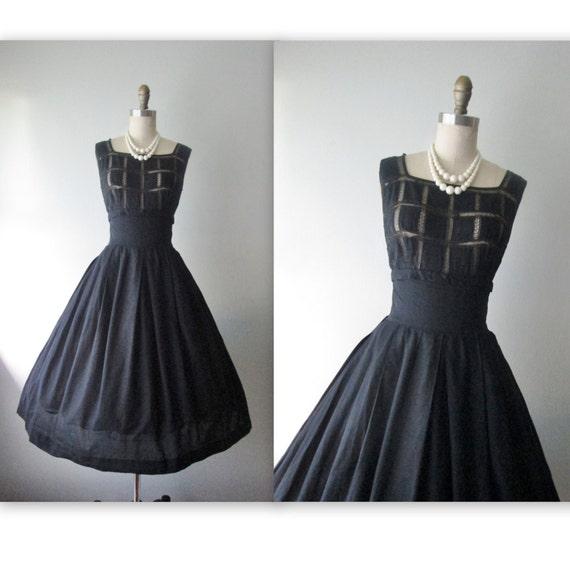 50's Dress // Vintage 1950's Black Cotton Lace Full Garden Party Dress M