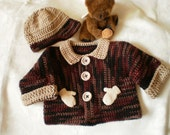 Boys Little Mittens Sweater Jacket and Hat Set for 18 to 24 Months